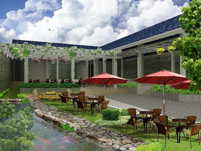 Tiểu cảnh sân vườn với kinh doanh quán cafe