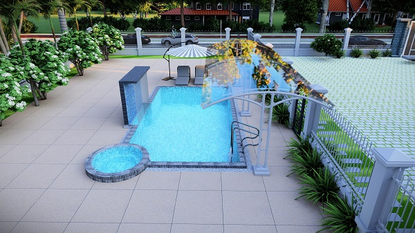 bản vẽ hồ bơi 3D