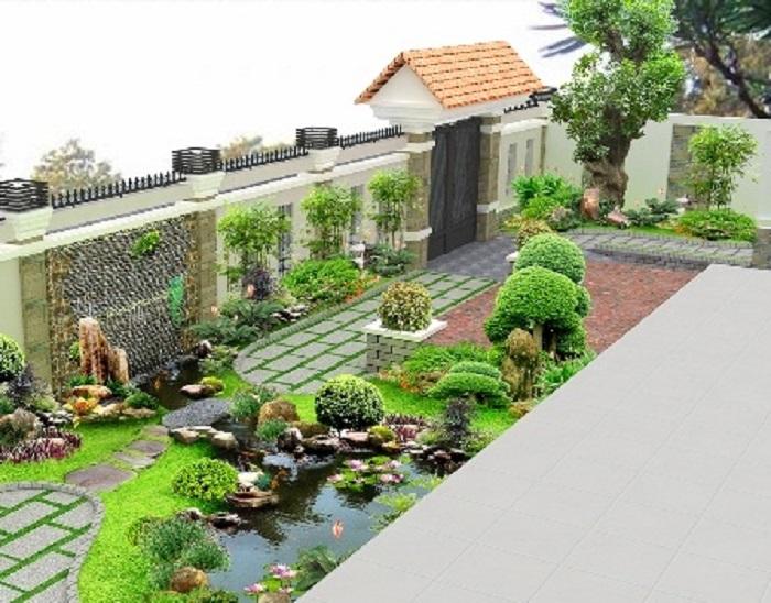 Sân vườn biệt thự theo phong cách hiện đại kết hợp với những tiểu cảnh đẹp