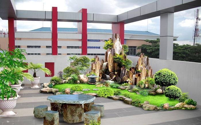 Tiểu cảnh sân thượng như một khu vườn thu nhỏ